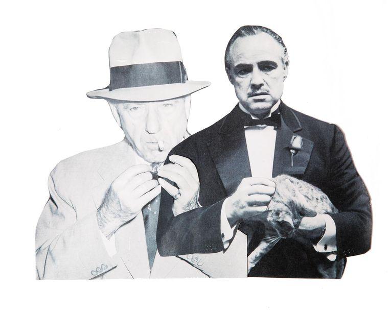 Don Vito Corleone, gebaseerd op Frank Costello, gespeeld door Marlon Brando. Beeld Studio V, foto links: Getty