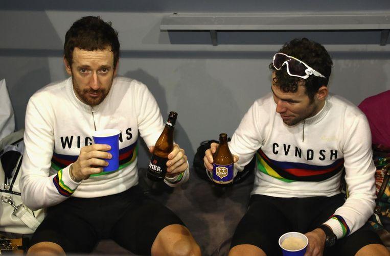 Wiggins en Cavendish proosten na winst zesdaagse Gent Beeld Getty Images
