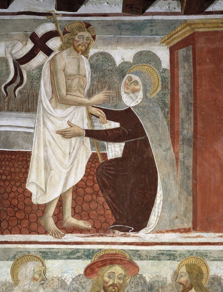 Op een fresco uit de 16de eeuw in de Italiaanse plaats Momo begroet Maria de opgestane Jezus. Beeld getty