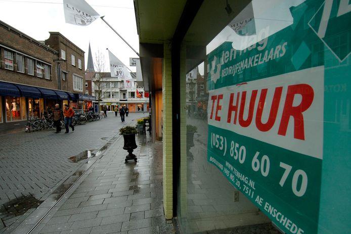 Leegstand in de Hengelose binnenstad. Volgens  Lokaal Hengelo omschrijven inwoners het centrum als 'een spookstad'.
