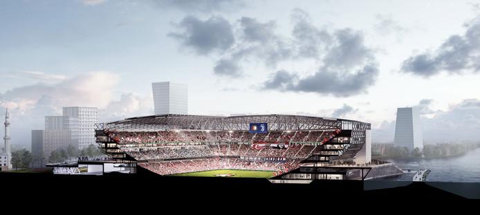 Dwarsdoorsnede van het nieuwe stadion. Het veld ligt op straatniveau.
