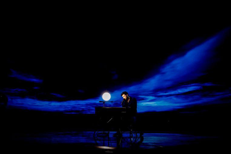 Winnaar Duncan Laurence tijdens het Eurovisie Songfestival in Tel Aviv. Beeld ANP