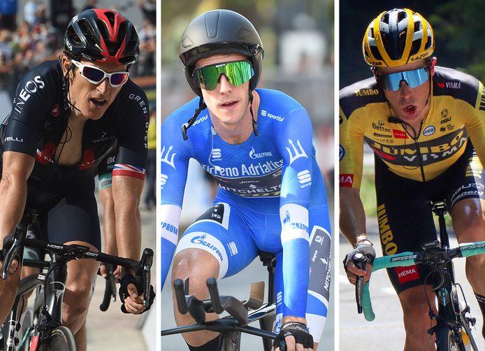 Vlnr: Geraint Thomas, Simon Yates en Steven Kruijswijk.