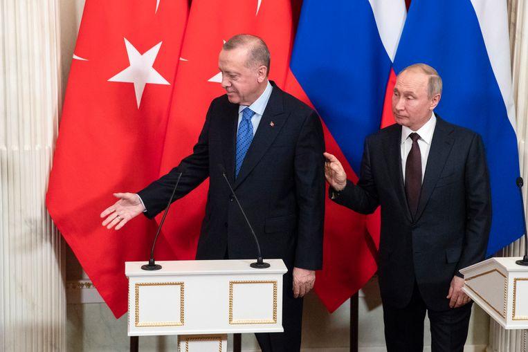 Erdogan en Poetin werden het vandaag eens over een staakt-het-vuren voor Noordwest-Syrië. Beeld EPA