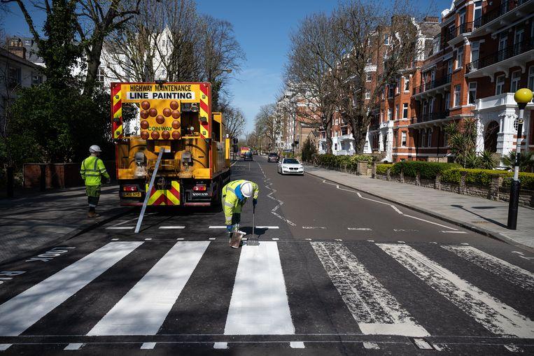 Werk in uitvoering op Abbey Road. Beeld Getty Images