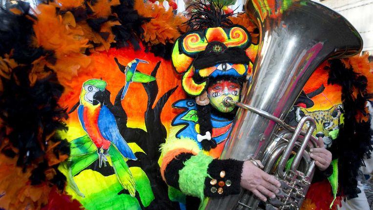 Een carnavalsvierder tijdens het Maastrichtse carnaval in 2015. Beeld anp