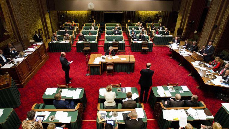 Minister-president Mark Rutte aan het woord achter de regeringstafel in de Eerste Kamer op de eerste dag van de Algemene beschouwingen. Beeld ANP