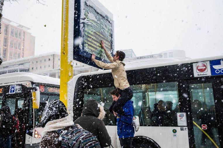 In Gent is een bord van De Lijn onleesbaar door de sneeuw.