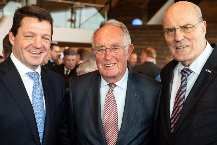 Peter Hartman (rechts) met de huidige topman van KLM, Pieter Elbers (links) en Pieter Bouw die de maatschappij eind jaren negentig leidde, tijdens de viering van honderd jaar luchtvaart vorige maand in Amsterdam Beeld anp