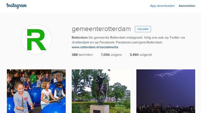 Het Instagram-account van de gemeente Rotterdam.