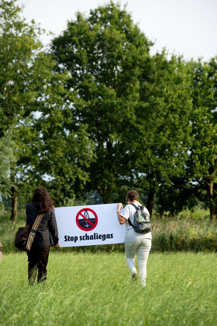 Milieudefensie protesteert tegen schaliegas. Beeld anp