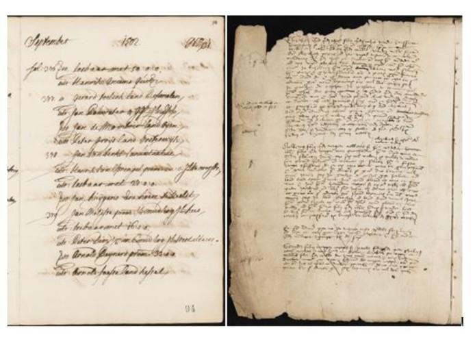 Links een scan van een indexpagina van het Bosch' Protocol. Gegevens van 27.073 van dit soort scans zijn in de computer ingevoerd.  Rechts een scan van een originele pagina uit het Bosch' Protocol.