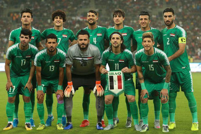 Het elftal van Irak voor het duel met Hong Kong op 10 oktober.