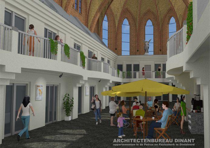 Artist impressions van de appartementen in de Petrus en Pauluskerk in Dinteloord.