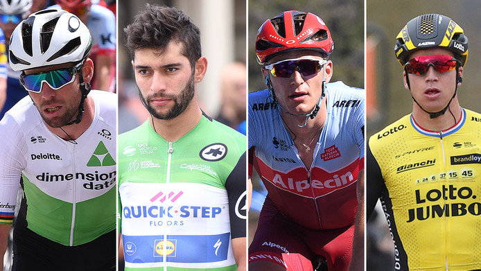 Vlnr: Mark Cavendish, Fernando Gaviria, Marcel Kittel en Dyland Groenewegen.
