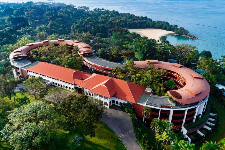 Het Capella-hotel op het eiland Sentosa bij Singapore. Hier is dinsdag de top tussen Donald Trump en Kim Jong-un. Beeld AP