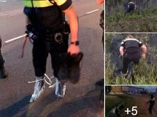 Politieman probeert sokken en schoenen droog te houden maar helaas