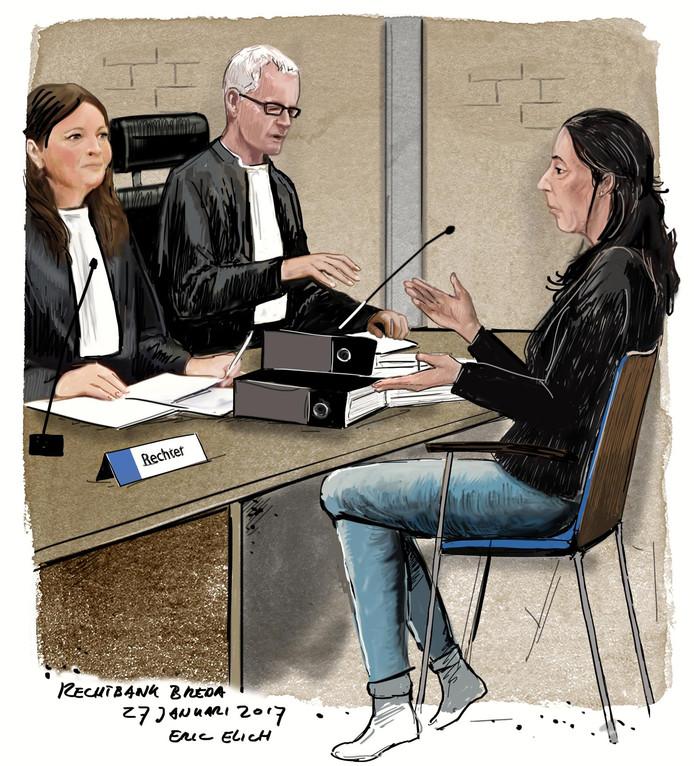 Rechtbanktekening Cora O. <br />Illustratie Eric Elich
