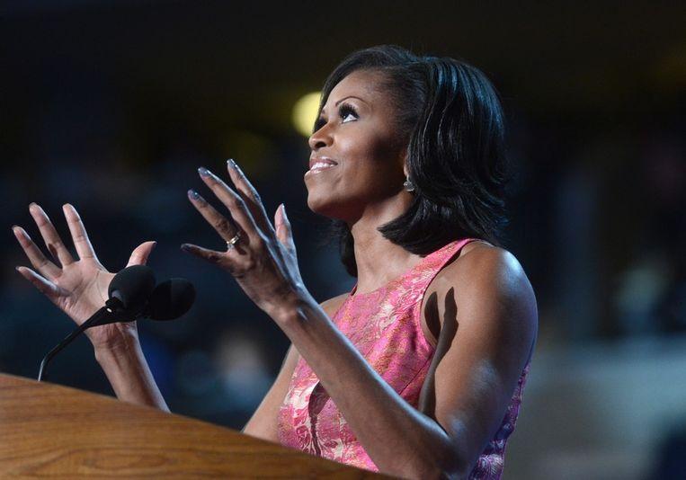 Michelle Obama tijdens haar toespraak voor de Democratische Nationale Conventie. Beeld EPA