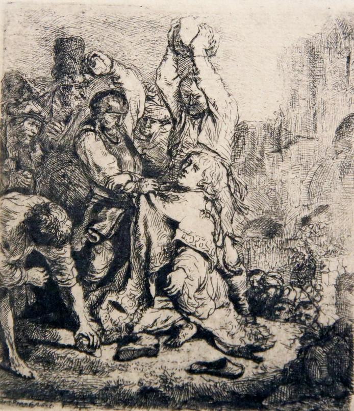 Een door Rembrandt gemaakte ets, waarop de steniging van Stefanus is te zien, siert Drukkerijmuseum Meppel.