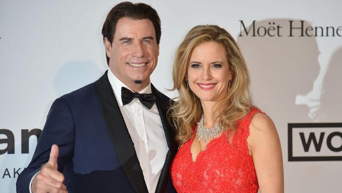 John Travolta met zijn vrouw Kelly Preston