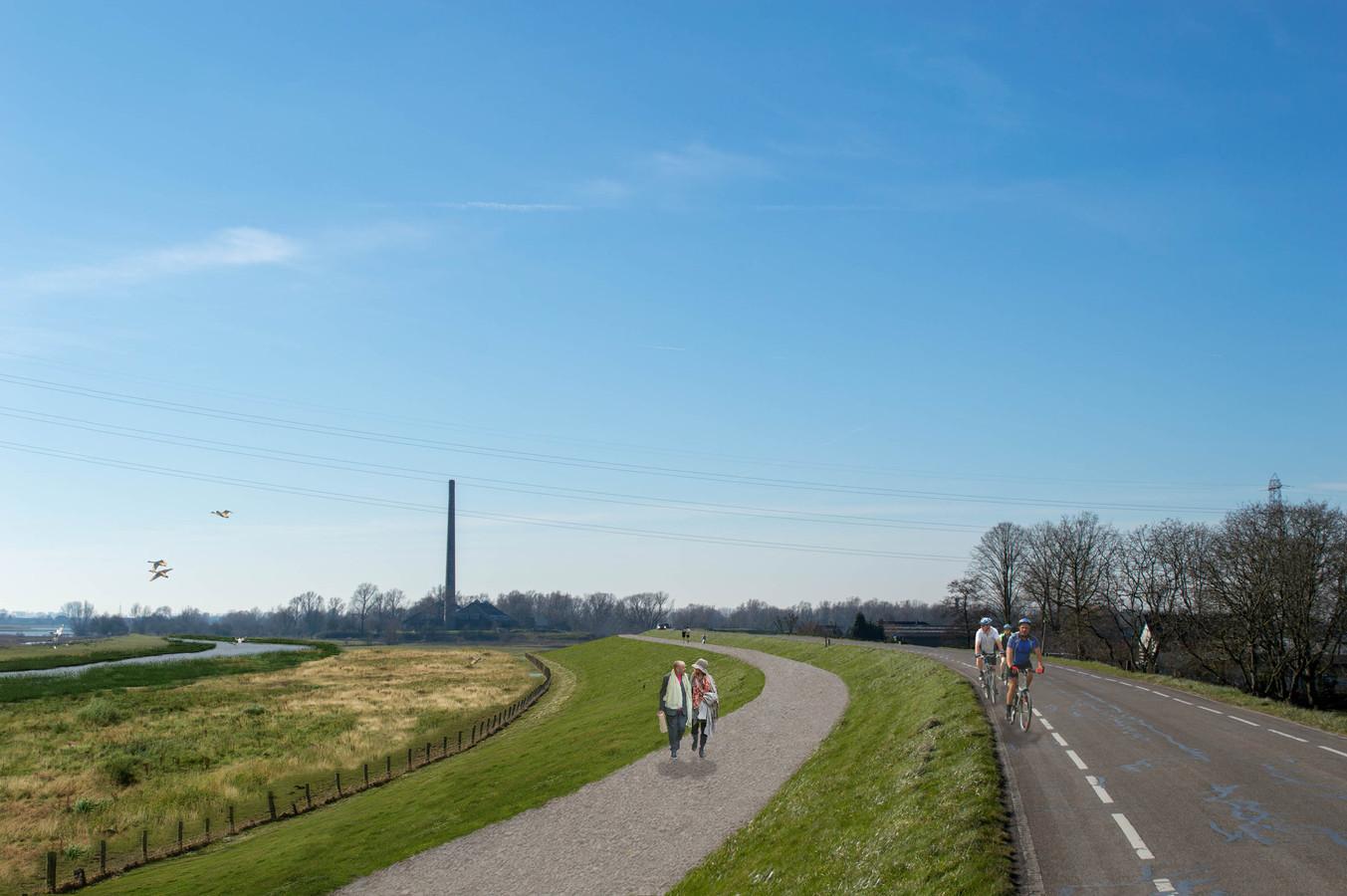 Een artist impression van de nieuwe Grebbedijk.