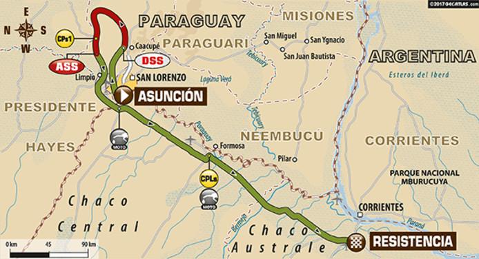 De route van de eerste etappe van Dakar 2017