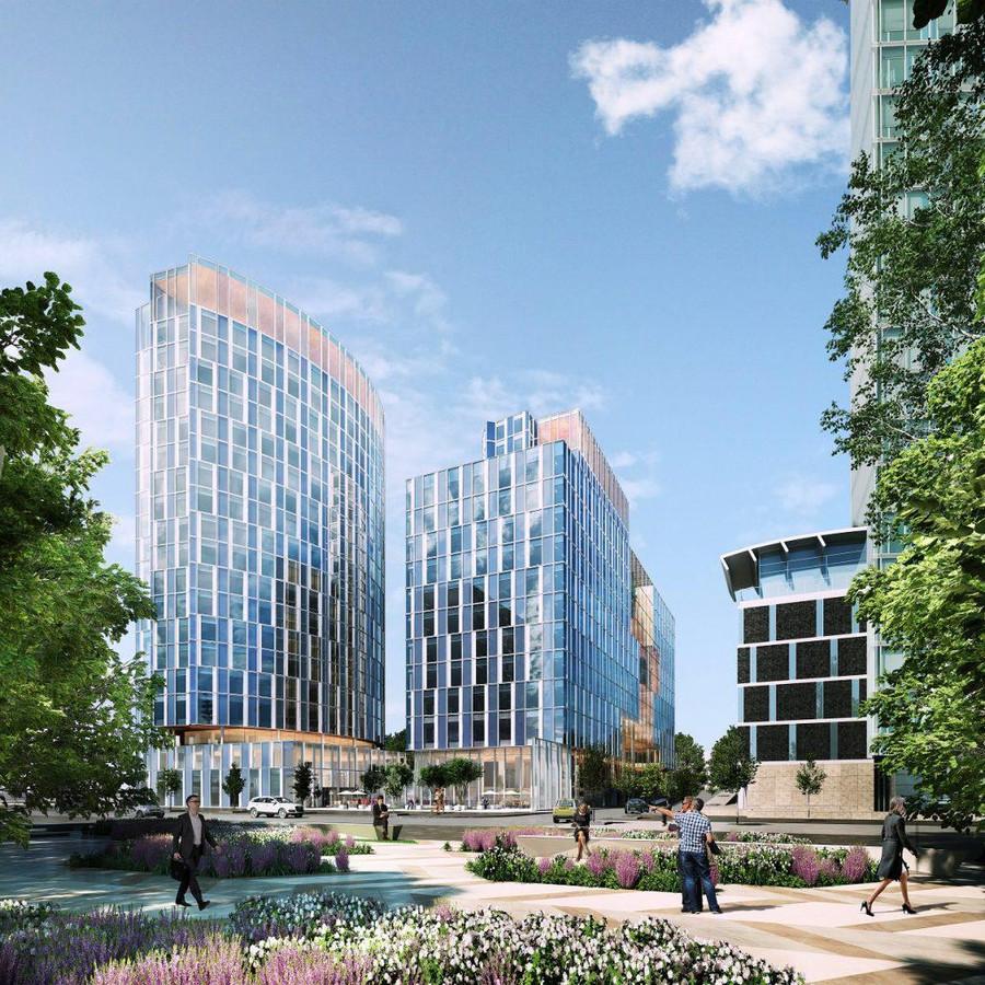Een impressie van het nieuwe Meliáhotel (links) en de gerenoveerde kantoortoren