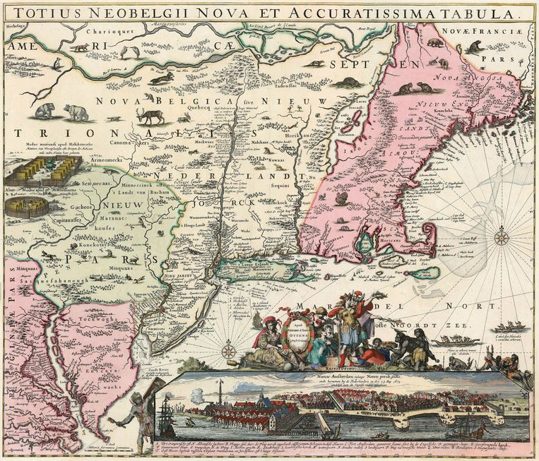 Kaart van Nieuw-Nederland (in het Latijn Nova Belgica geheten) uit 1725, met linksonder de rivier Delaware, waar Plockhoy aan land ging. beeld Allard H. & Ottens Beeld Allard H. & Ottens