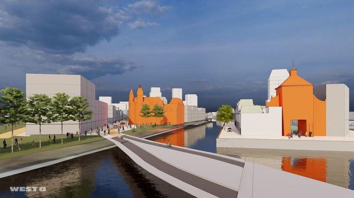Zo kan de wijk De Staart in Dordrecht er volgens landschapsarchitect Adriaan Geuze uit gaan zien, met in oranje links het oude postkantoor en rechts de Spuipoort.