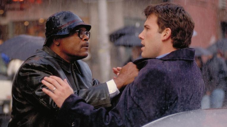 Samuel L. Jackson (links) en Ben Affleck in Changing Lanes (Roger Michell, 2002). Beeld
