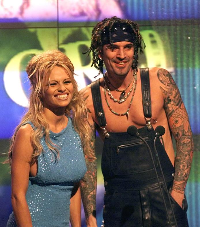 Pamela Anderson en Tommy Lee tijdens hun huwelijk.