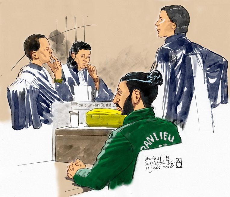 Achraf B. in de rechtbank. Beeld anp