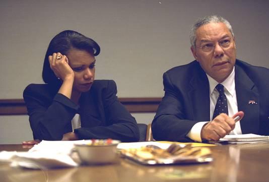 Condoleezza Rice en Colin Powell enkel uren nadat twee vliegtuigen de WTC-torens doorboorden.