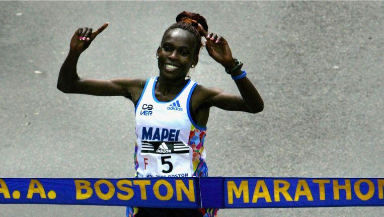 Rita Jeptoo, winnares van de Boston Matathon, is de bekendste dopingzondaar. Beeld pro shots