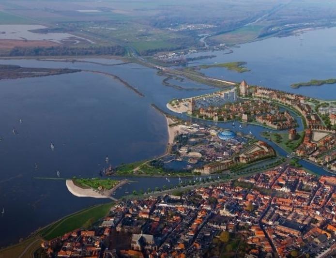 Op deze illustratie op de website van het Waterfront is de ruimte tussen het Dolfinariumterrein en de havens volgebouwd.