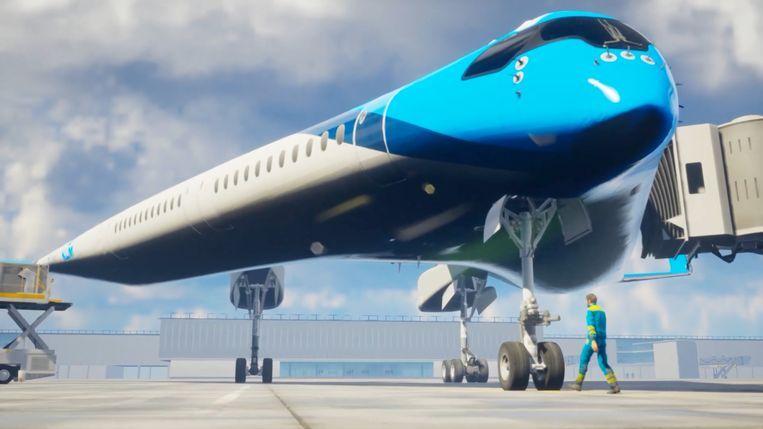 Artistieke verbeelding van de Flying-V, die in 2050 op Schiphol te zien zou moeten zijn. Beeld Beeld Edwin Wallet / Studio OSO