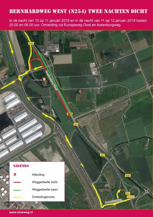 De afsluiting, en de omleidingsroute voor verkeer uit de richting van Walcheren.