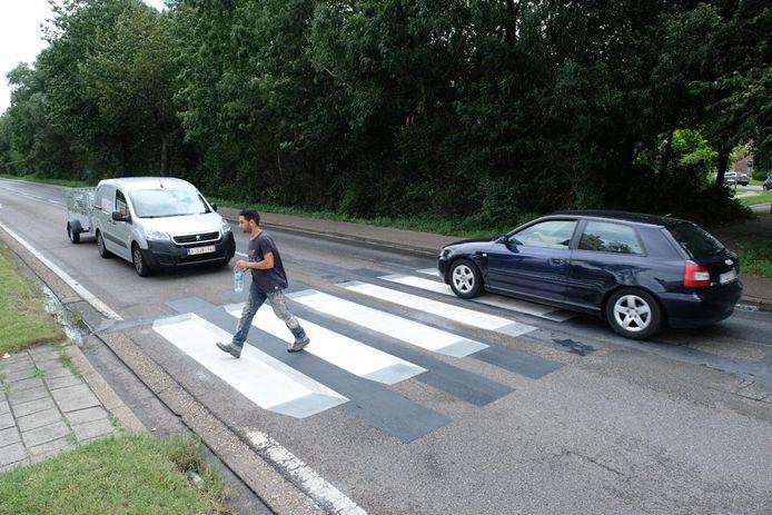 Sint-Bernardsesteenweg heeft voortaan een '3D-zebrapad'.