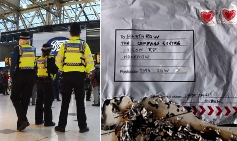 Agenten patrouilleren in Waterloo Station nadat Londen gisteren door drie bombrieven werd opgeschrikt.