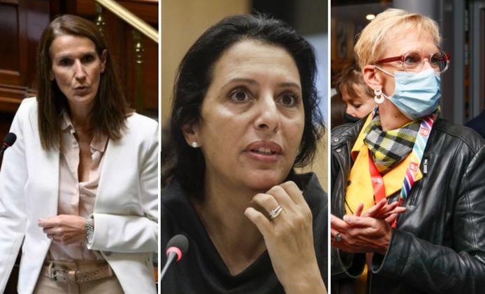 Sophie Wilmès (MR), Zakia Khattabi (Ecolo) et Karine Lalieux (PS)