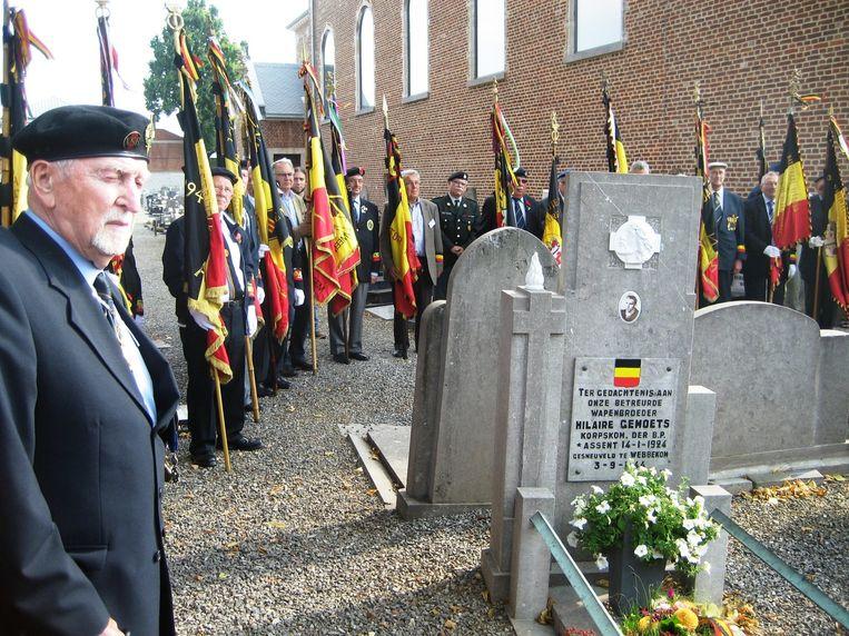 Op de herdenking van Hilaire Gemoets was ook Leopold Mees (links), een van zijn beste kameraden, aanwezig.