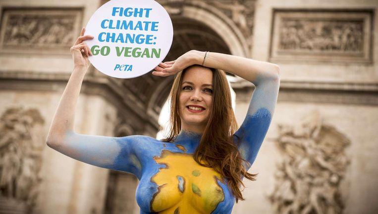 Vrijdag, op de dag van de aanslagen in Parijs, voert een organisatie van dierenactivisten actie voor de Arc de Triomphe. Beeld afp