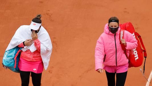 Victoria Azarenka en Danka Kovinic voor hun partij.