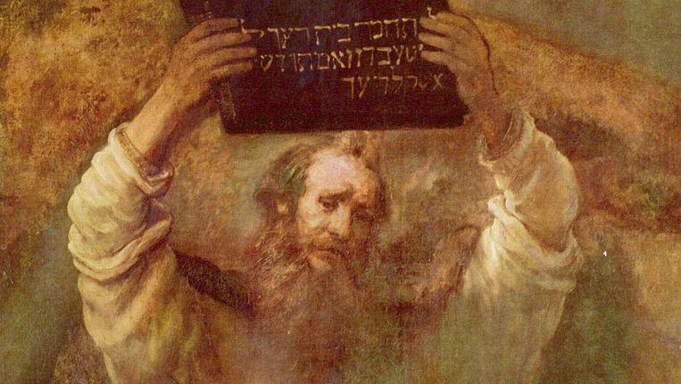 'Mozes breekt de tafelen der wet' van Rebrandt van Rijn Beeld Wikimedia