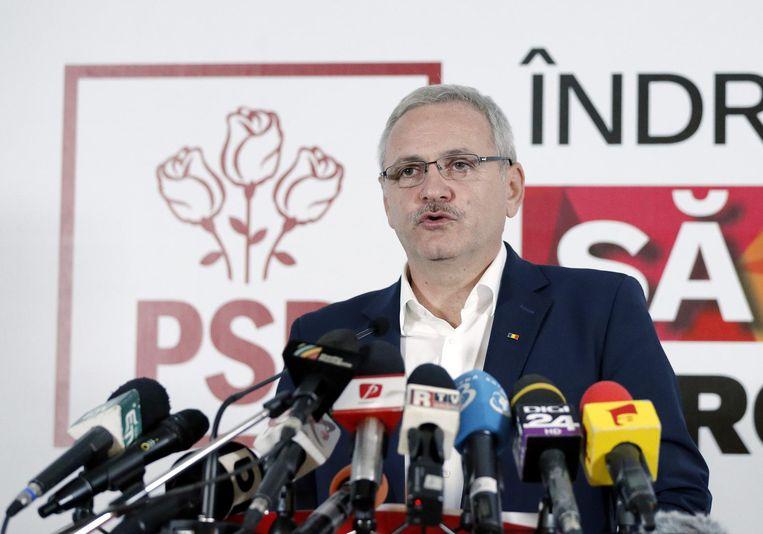 PSD-leider Liviu Dragnea tijdens een persconferentie. Beeld epa