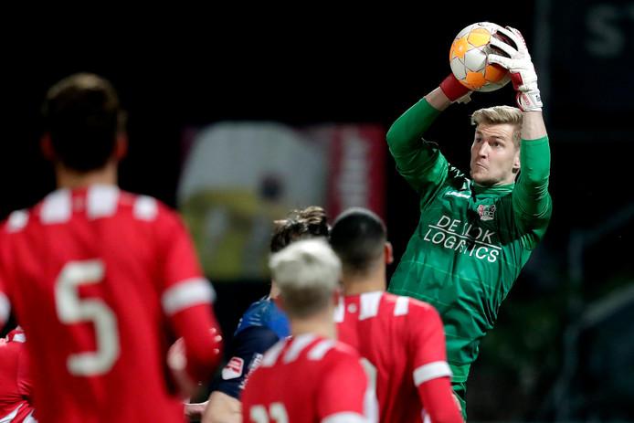 NEC-doelman Mattijs Branderhorst eerder dit jaar in het duel tussen Jong PSV en NEC, dat toen in 4-4 eindigde.