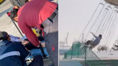 Vrouw smakt tegen balustrade tijdens pijnlijk ritje in de draaimolen