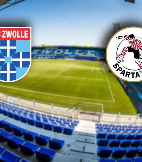 PEC Zwolle en Sparta jagen op eerste zege