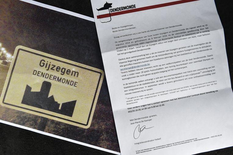 De bewoners van Gijzegem kregen deze brief, met hoofding van 'De Klaptand' in de bus.